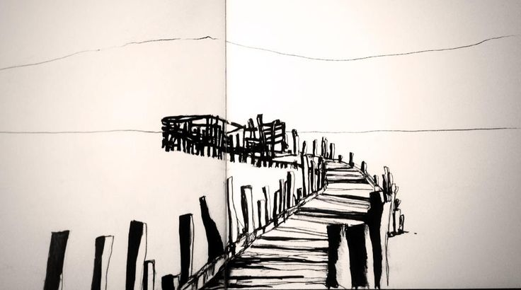 @artysu1 #DrawingAugust Day3. Kalamaki.  Beautiful in its fragility. Like all things precious. Wooden beams threaded together.