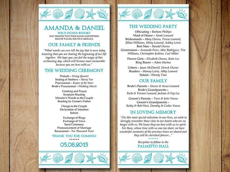 "Beach Wedding Program Template - Seashell Wedding Program ""Coastal Dreams"" Ocean Order of Ceremony Program Download - DIY Wedding Template by PaintTheDayDesigns on Etsy"