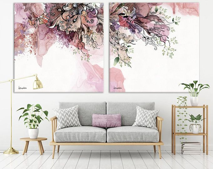 Set Of 2 Abstract Prints Modern Minimalist Nordic Etsy Wall Art Living Room Boho Wall Art Wall Art Sets Living Room