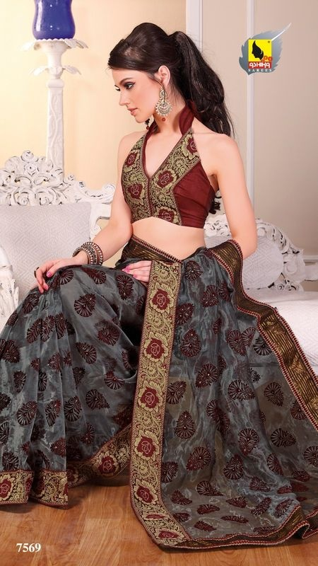 New Indian ethnic Bollywood Sari Designer Fancy Party Saree Wedding 7569 | eBay