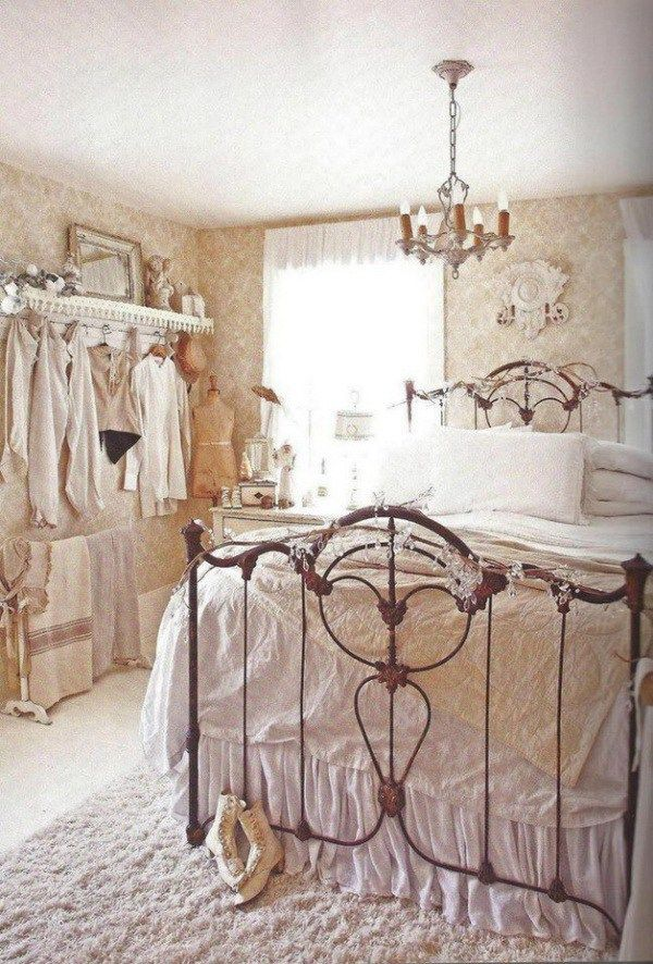 Vintage Shabby Chic Bedroom Decorating Idea.                                                                                                                                                                                 More