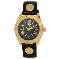 TOV Essentials dameshorloge 1461. Een lederband horloge helemaal in de stijl van TOV Essentials. Een zwarte lederenband met een goud kleurige kast.