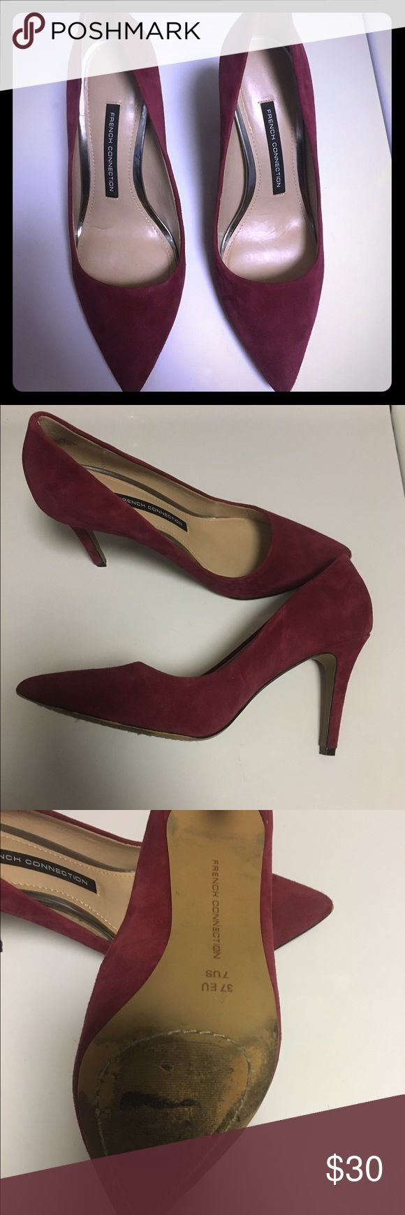 French Connection Rosalie suede pumps Only worn twice! Love these maroon shoes I just can't wear them anymore from a foot injury. I miss them already 😢 French Connection Shoes Heels