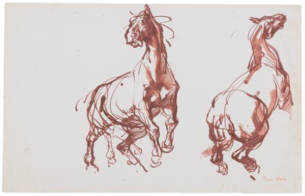 Two studies of horses rearing - Ivor Hele
