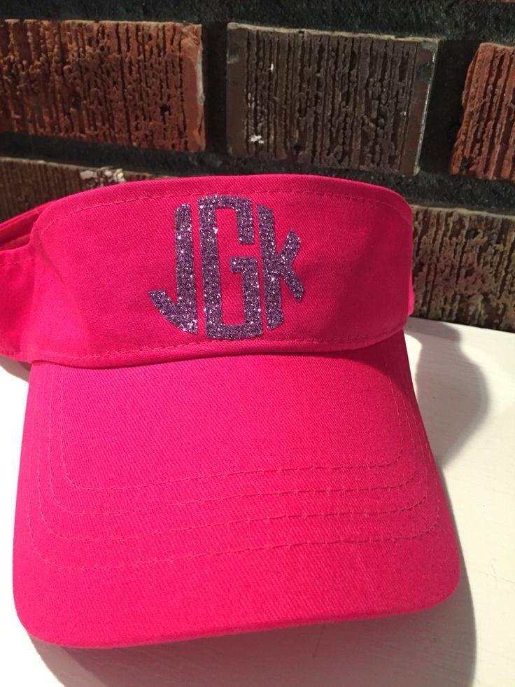 Monogram Visor Glitter Htv Cricut Embroidery Monogram