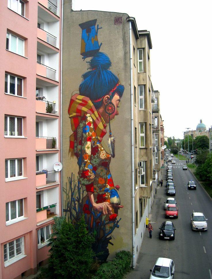street art By Sainer from Etam Crew. Poland: Wall Art, Street Artists, Street Art Utopia, Streetartutopia, Urbanart, Urban Art, Blue Hair, Amazing Street Art, Street Art Graffiti