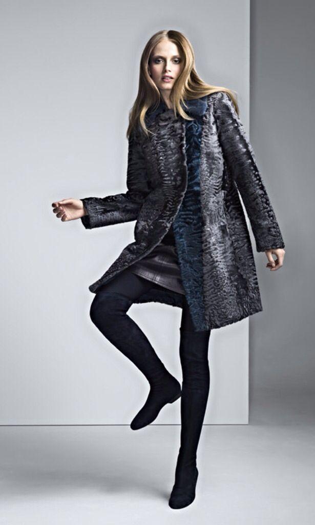 Dyed Swakara Lamb Fur Coat