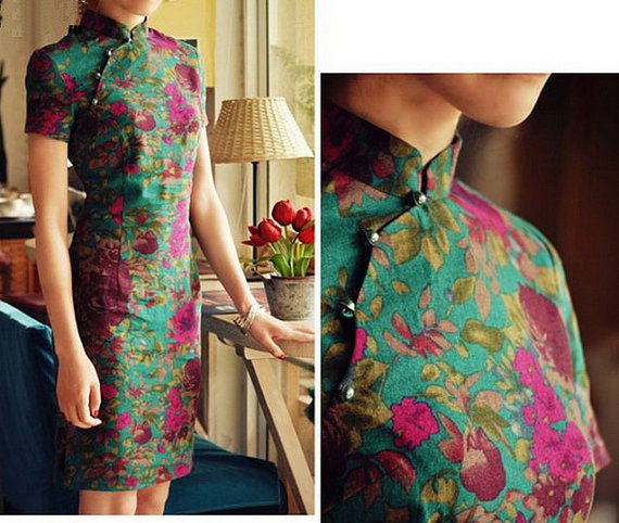 Quiet Fragrance Linen Cheongsam Dress by zeniche on Etsy, $42.00