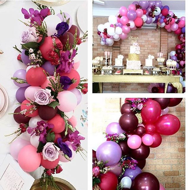 Pretty balloon table centrepieces mixed with florals beautiful by @maryronisevents @crazyaboutflowers