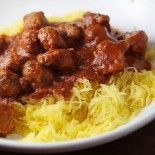 Skinny Spaghetti Squash and Meatballs. I made this tonight and we loved it! Spaghetti squash was super easy to work with!