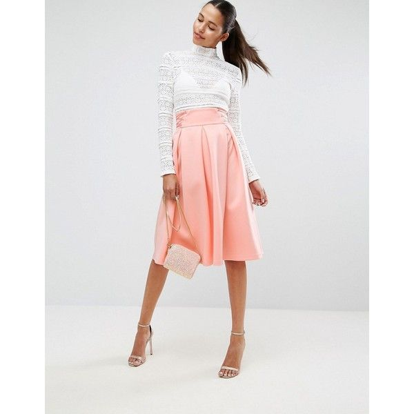 ASOS Scuba Prom Skirt with Corset Waist Detail ($53) ❤ liked on Polyvore featuring skirts, orange, knee length pleated skirt, pleated midi skirts, high waisted midi skirt, calf length skirts and orange pleated skirt