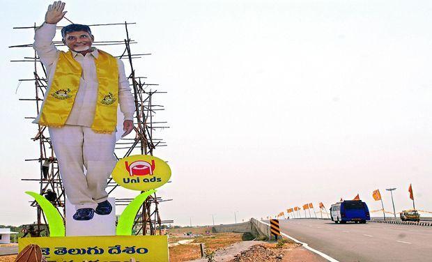 Vijayawada turns yellow for N Chandrababu Naidu