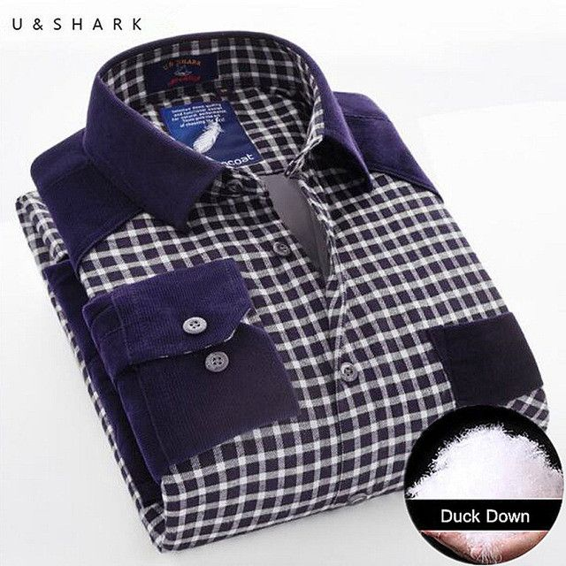 Men Warm Thick Duck Down Green Plaid Shirt Winter Fleece Casual Shirts Fashion Long Sleeve Thickening Flannel Shirt Male