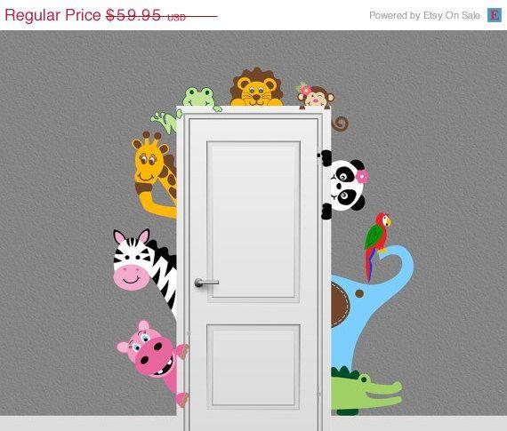 Verkauf Dschungel Safari Tier Aufkleber Peeking Door von onehipstickerchic, 50,96 $
