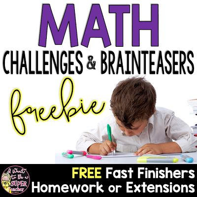 Math Challenges for Grades 2-4 - Great Extensions Homework Fast Finishers  If you need some math challenges for fast finishers homework or extensions come check out my free math challenges. These are challenging for 2nd/3rd but can be used in 4th/5th as reviews or bell work too.  Have a great week and thanks for all you do!  2nd grade math 3-5 3rd grade math I Want to be a Super Teacher math challenges PK-2