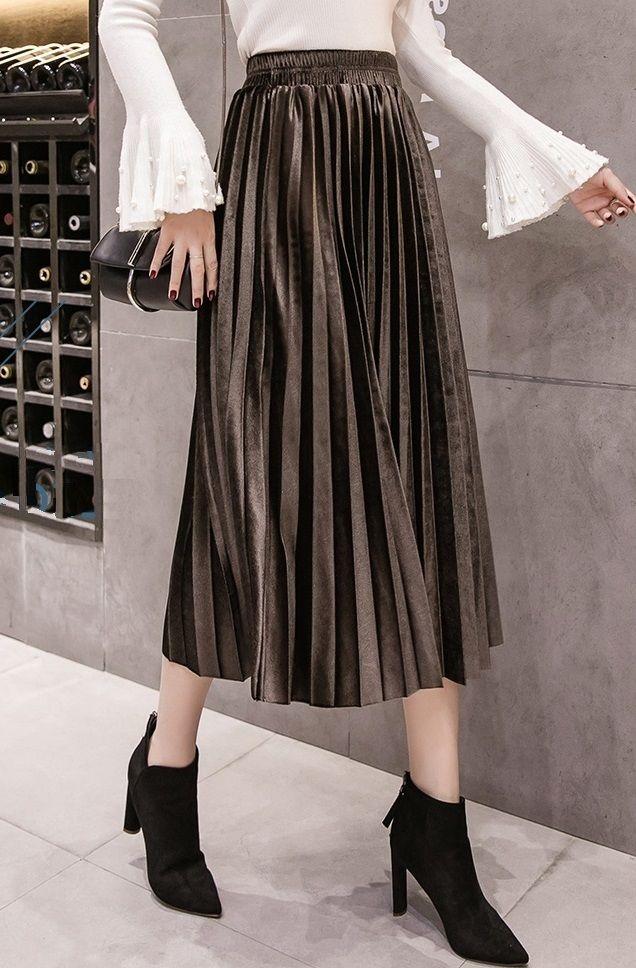0bc086a29c ... skirt :) Dark brown pleated metallic velvet women midi skirt autumn  winter office work casual everyday ladies pleated skirt fall spring high  waist cute ...