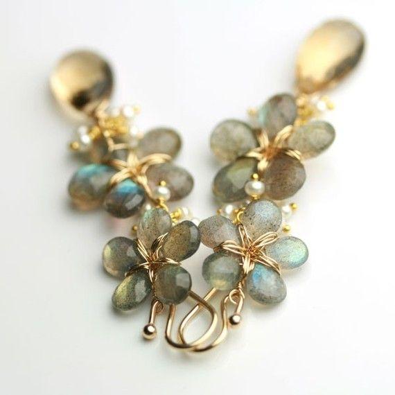 Etsy seller fussjewelry - Long Flower Earrings Dangles in Labradorite, Champagne Citrine and Freshwater Pearls