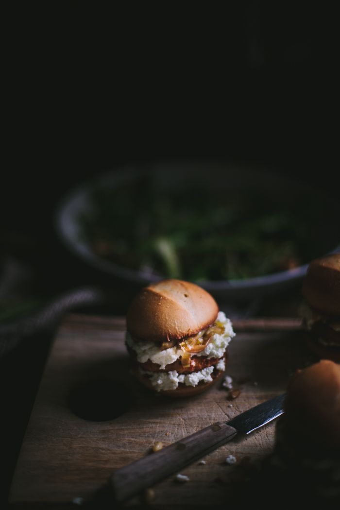 Sliders with Caramelized Green Onions & Sheep's Cheese by Eva Kosmas Flores | Adventures in Cooking: