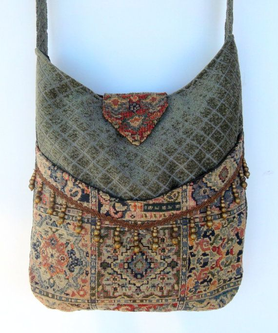 Tapestry Gypsy Bag Brass Bead Fringe Messenger Bag Bohemian  large bag renaissance bag messenger bag medieval bag. $58.00, via Etsy.