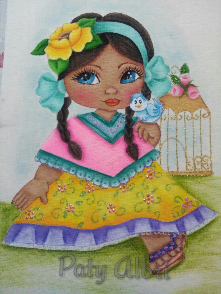 Pintura textil niña pajarera paty albri