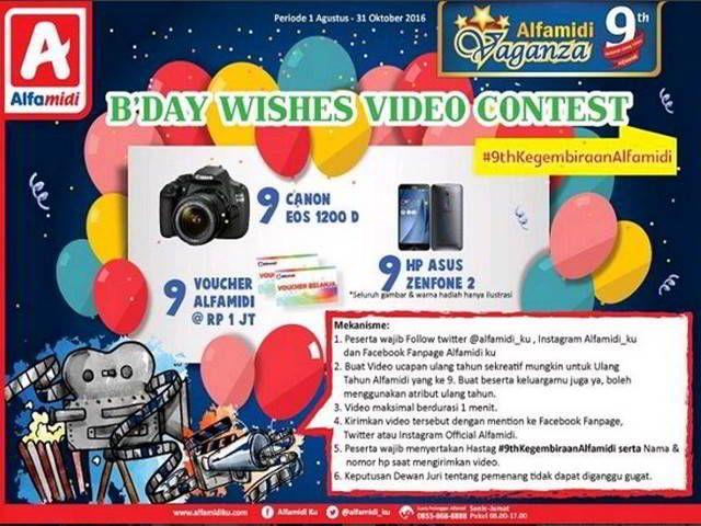 Kontes Video Alfamidi B'day Wishes Berhadiah Canon EOS 1200 D - Dalam rangka merayakan ulang tahun Alfamidi yang ke-9, Alfamidi mengajak kamu untuk