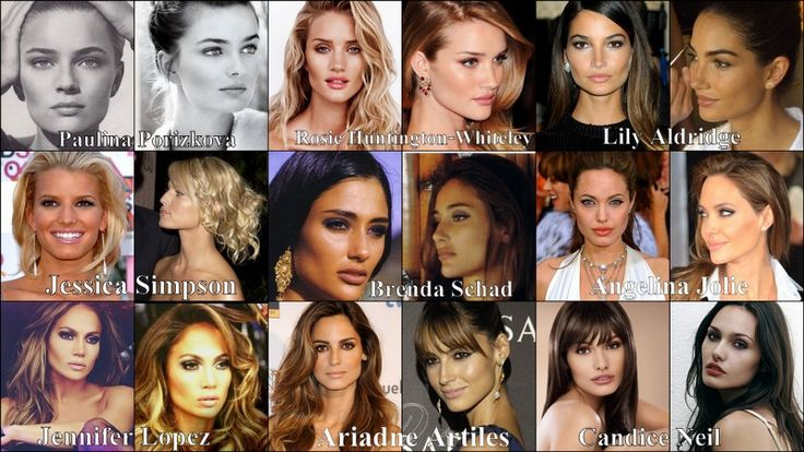 Beautiful women.... Square jaw, wide jaws, strong jawline, strong chin, high cheekbones. Ideal faces.  Paulina Porizkova, Rosie Huntington-Whiteley, Lily Aldridge, Jessica Simpson, Brenda Schad, Angelina Jolie, Jennifer Lopez, Ariadne Artiles, Candice Neil