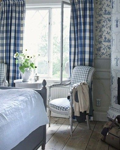 The holidays have me thinking about guest rooms and I love the look of this one! This is actually a hotel room at a Gustavian style hotel in Sweden. The checked fabrics toile wallpaper wide planked floors the painted furniture and tiled fireplace--what's not to love?  From the blog Shabby and Charme - Architecture and Home Decor - Bedroom - Bathroom - Kitchen And Living Room Interior Design Decorating Ideas - #architecture #design #interiordesign #diy #homedesign #architect #architectural…