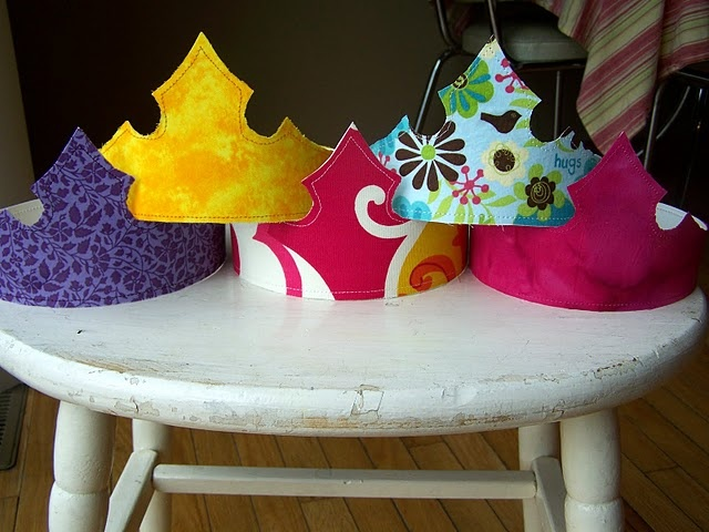 Looks like a princess peach crown. Poster board and material.