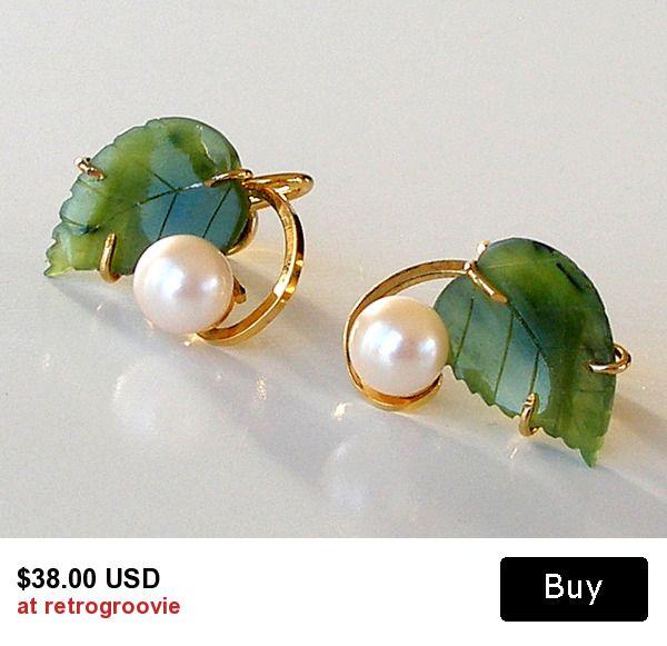 Vintage Pearl Earrings Carved Jade Earrings 1960s Jewelry Gold Filled Earrings Sorrento