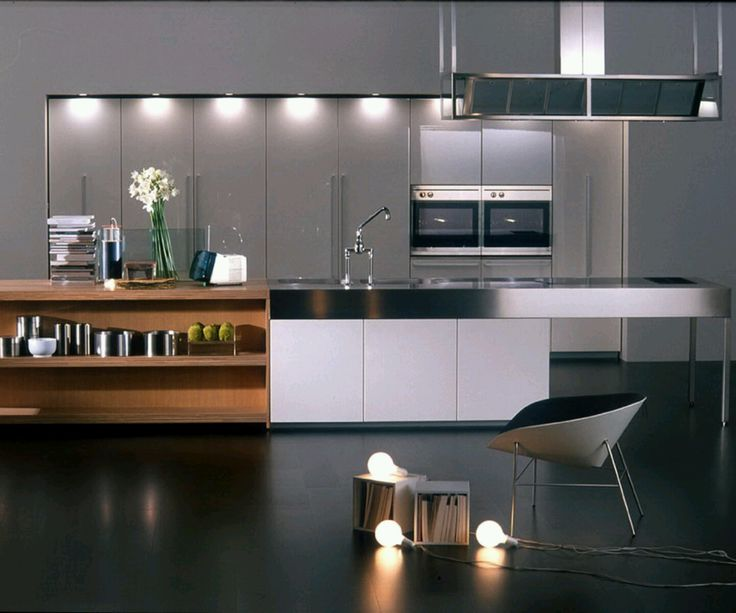 Kitchen, Modern Interior Kitchen Design Black Concrete Floor Material  Unique White Chair White Kitchen Cabinet Combined Wood Shelves Stainless  Steel ...