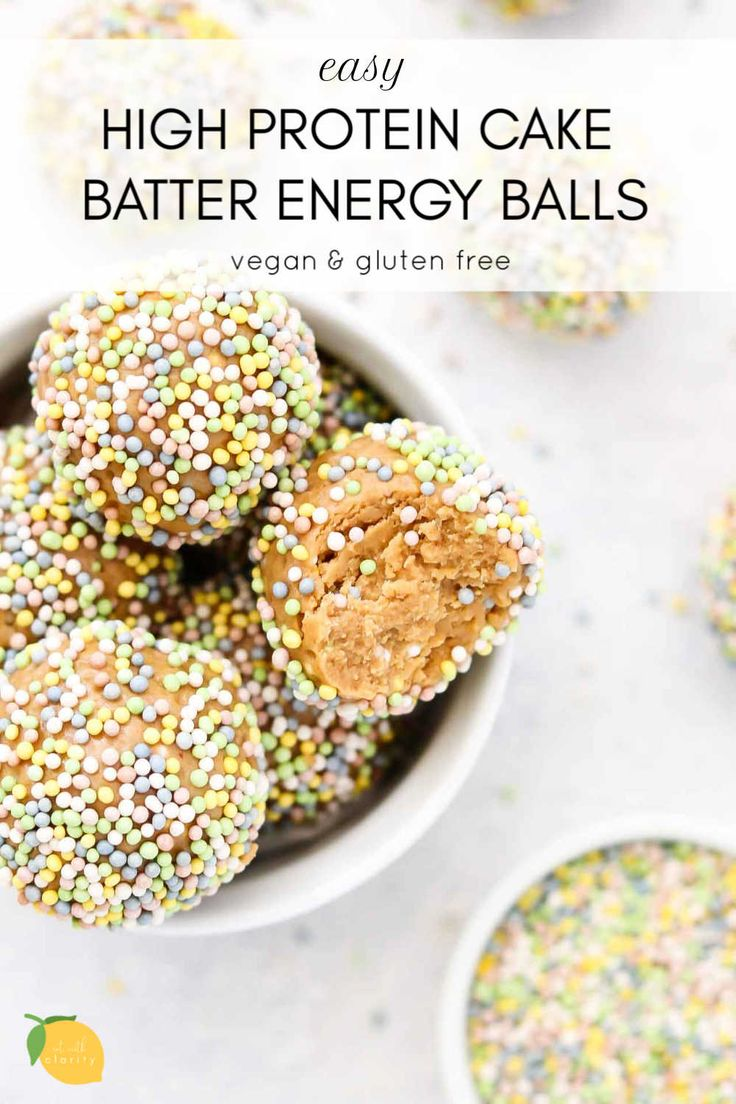 Cake batter high protein energy balls eat with clarity