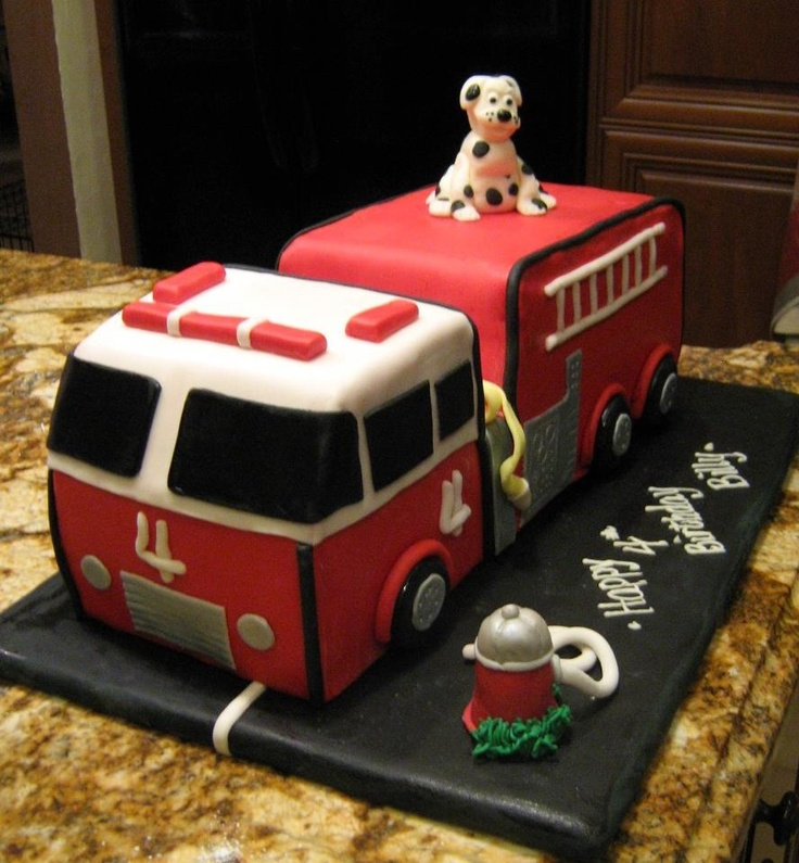 Fire truck 4th bday cake, done by us!
