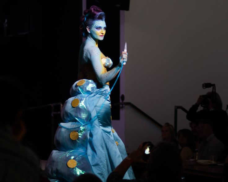 I was the Blue Caterpillar in the Wonderland Fantasy Fashion Show in Asheville at Highland Brewing. Design by Rachel Ackerman and Julianna Hosmer, #bluecaterpillar #fashion #costume #runway #wonderland