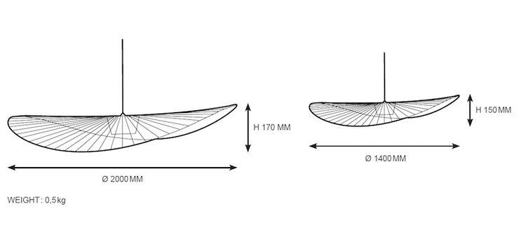 suspension Vertigo de grande / petite taille - diametre et hauteur de l'abat-jour