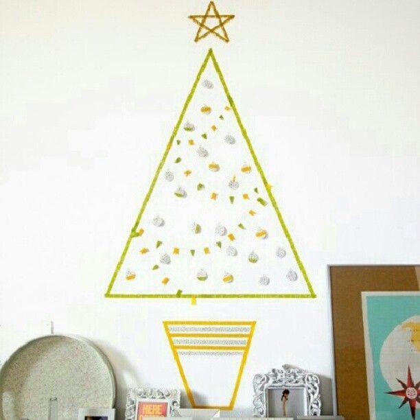 クリスマスツリーをマスキングテープでデコ