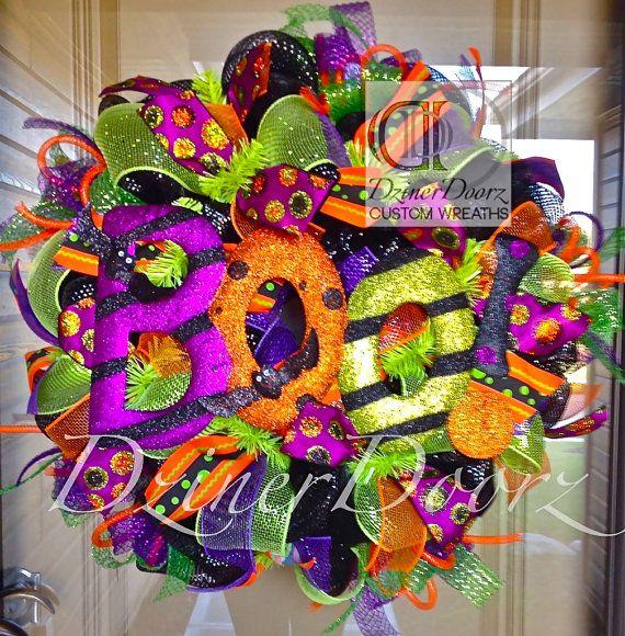 Deluxe BOO Halloween deco mesh Wreath by DzinerDoorz on Etsy, $115.00
