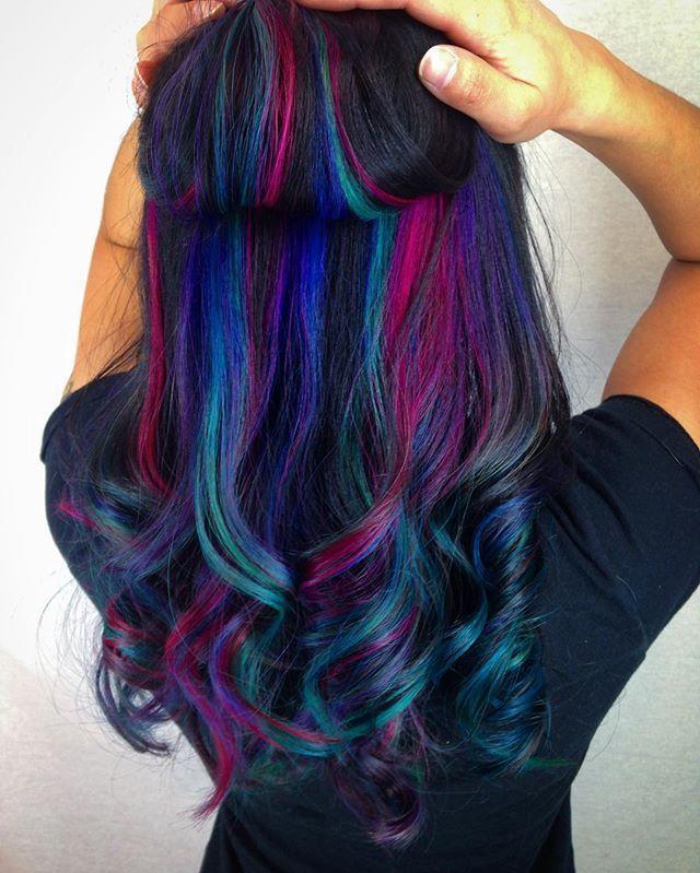 Multi Colored Hair Best 25 Underlights Hair Ideas On Pinterest Dyed Hair Underlights Hair Hair Streaks Multi Colored Hair