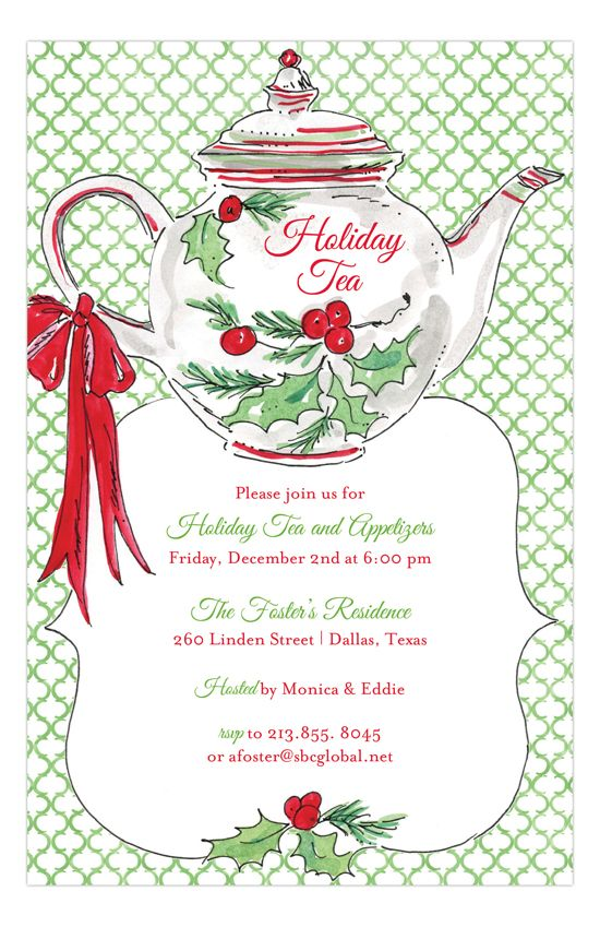 Rosanne Beck |Holiday Christmas Tea Invitation | Polka Dot Design