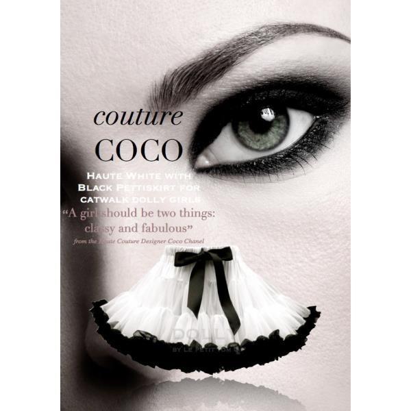 """majstrovsky hviezdna COCO CHANEL  Dymovo biela sukňa v kombinácii s čiernou pre hviezdne Dolly dievčatá """"A girl should be two things : classy and fabulous""""  Návrhárka Coco Chanel"""