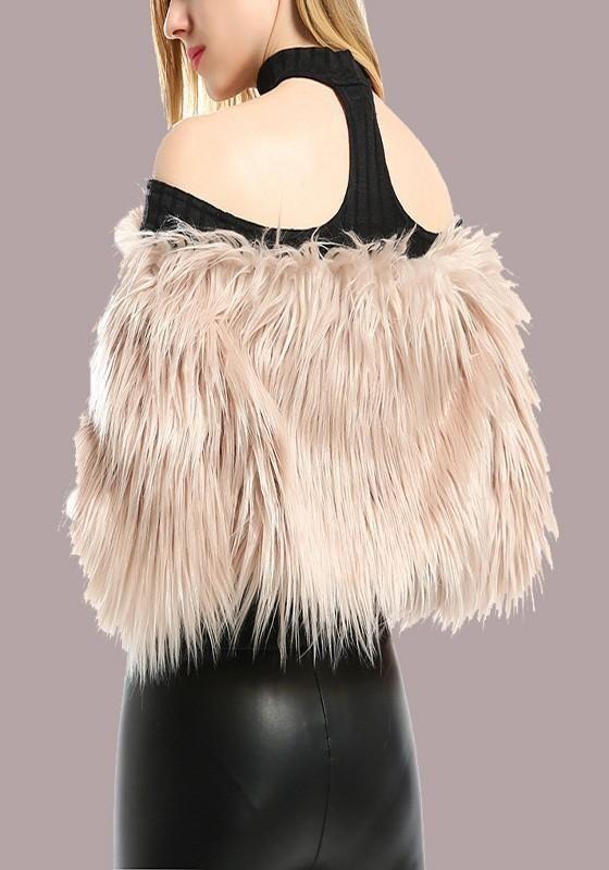 c6f81b293a14 Khaki Fur Off Shoulder Backless Long Sleeve Fashion Cardigan Coat in ...