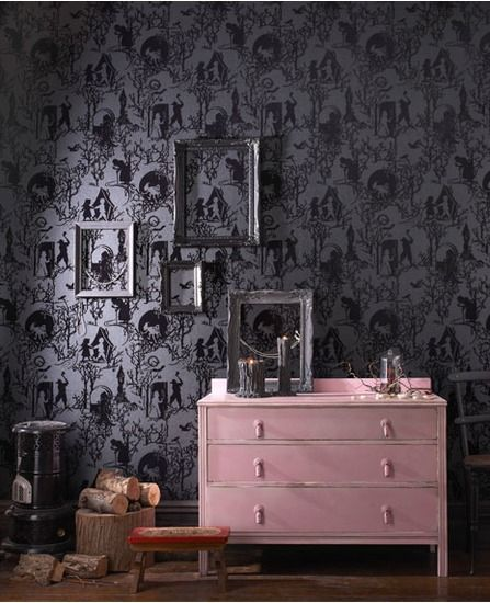 Fairy Toile wallpaper - fairytale folk come out of the darkness of this wonderfully luxurious flock wallpaper.