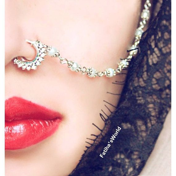 Vintage Indian Diamante Nath Nose Chain Celebrity by MadZFashionZ