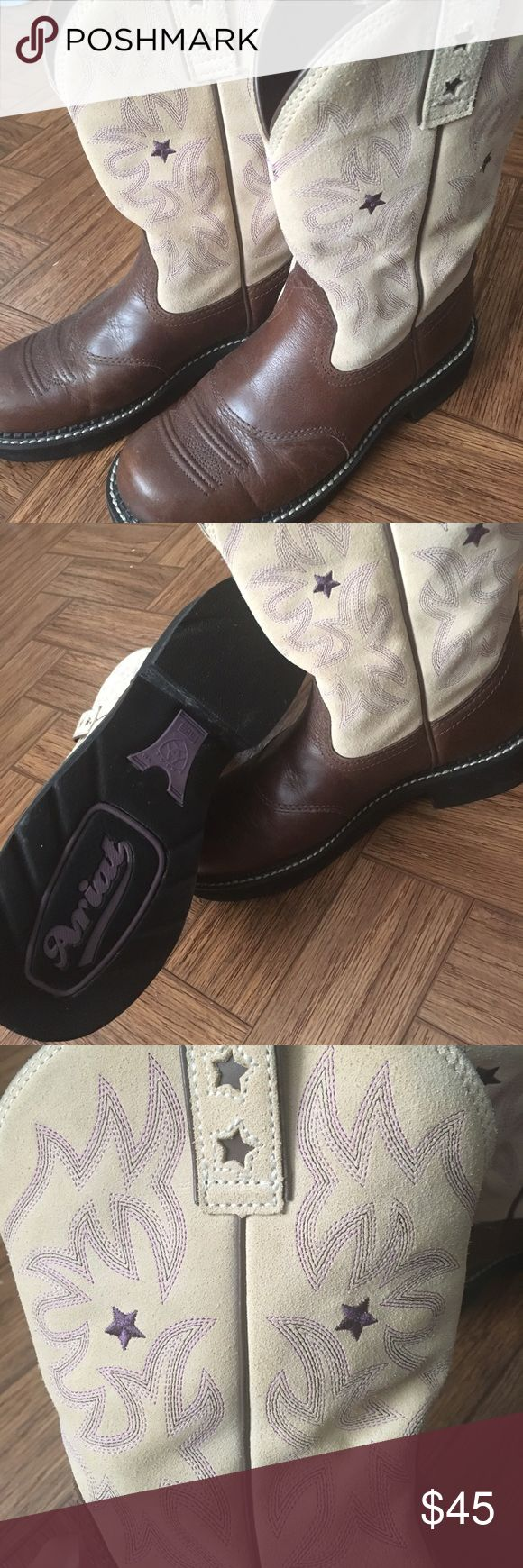 Ariat boots - tan & purple Beautiful size 8 cowboy boots! Tan with purple stitching. They are Ariat Fatbaby's. They are several years old, but only worn 4 times. Great for ranch work, or style! Open to offers. Ariat Shoes Combat & Moto Boots