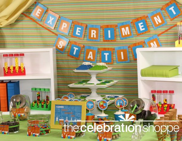 Fun science themed birthday party ideas from @celebshoppe: Theme Birthday Parties, Labs Parties, Mad Science Parties, Kids Birthday Theme, Experiment Stations, Science Labs, Mad Scientist Parties, Parties Ideas, Science Birthday Parties