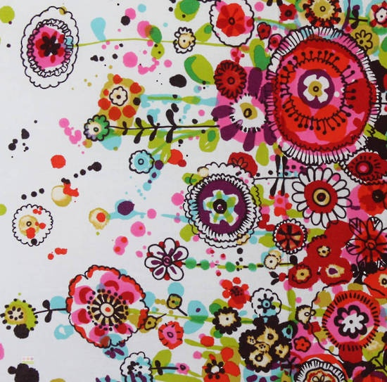 Latest Designer Fabric 'Larkspur Border in Brights' by Alexander Henry (USA). Fabric are for sale online and in our fabric shop.