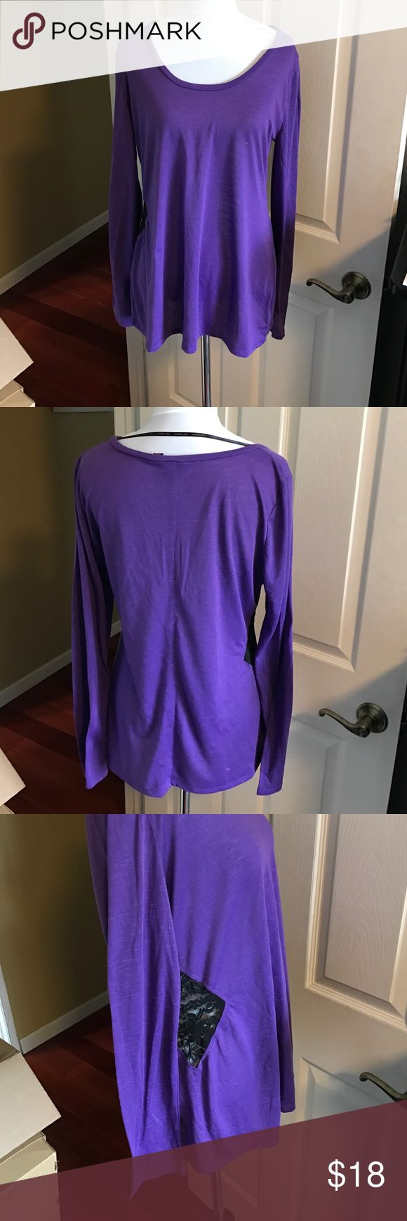 Purple Long Sleeve with Lace Cutout Beautiful purple long sleeve with a twist. Side cutout with black lace insert. Worn 2x. Material Girl Tops Tees - Long Sleeve