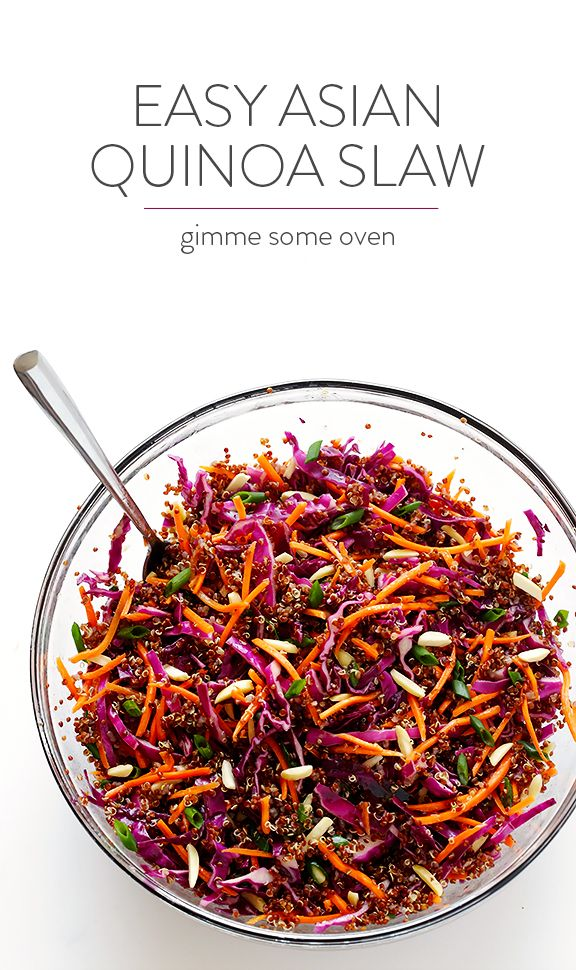Easy Asian Quinoa Slaw - Perfect for potlucks, or a quick weeknight dinner. Satisfying side dish all on its own, or add in some extra protein to make it a meal. You can sub tamari for the soy sauce, and sweeten the dressing with about 10 drops of stevia (use grapseed oil).
