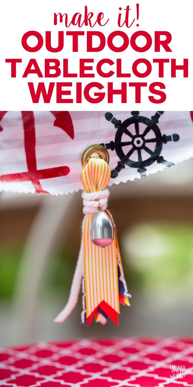 Make your own outdoor tablecloth weights using inexpensive fishing line sinkers. They can be fashioned and attached in many different ways to your outdoor tablecloth. Great for outdoor picnics and parties.