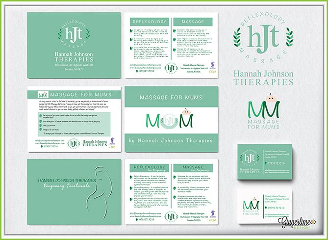 Hannah Johnson Therapies Branding          About Hannah Johnson Therapies: Hannah Johnson Therapies is a North London based company that specialises in massage and reflexology.Hannah came to Gingerlime looking for a branding package to include a logo, business cards, and several advertising leaflets.Hannah was looking for a design that