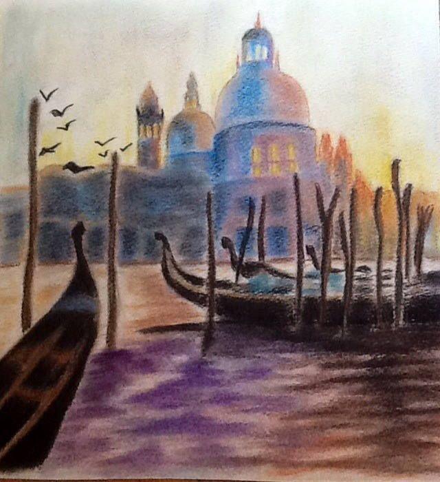 Venise Le Grand Canal Pastel 30x24cm Grand Canal Les Arts